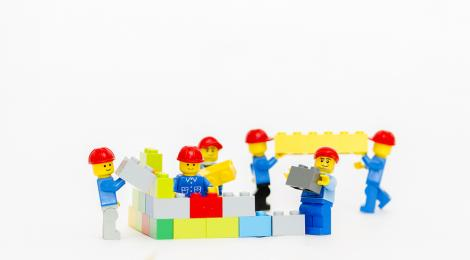 Lego men in construction