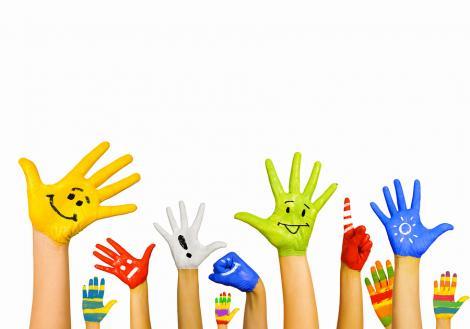 Happy hands raised