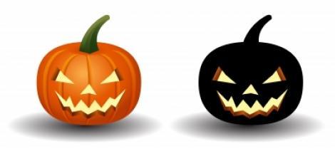 Two pumpkins - one orange, one black
