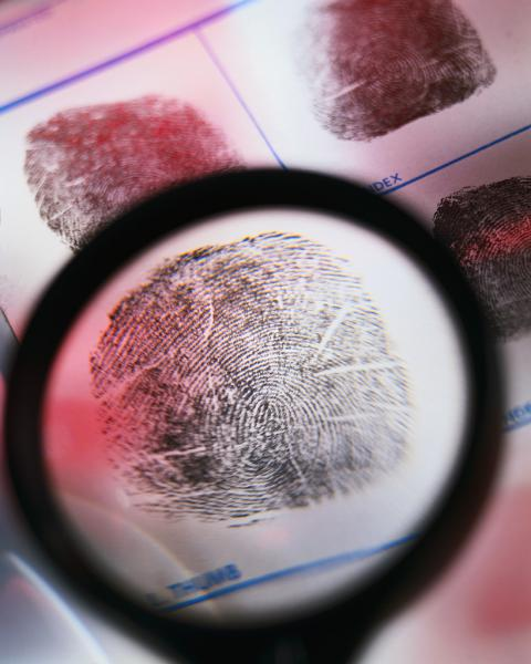 finger print under a magnifying glass
