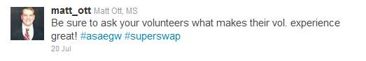 tweet on asking volunteers